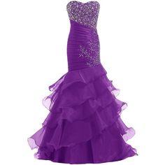 Dresstells Women's Mermaid Dress Long Prom Dress Wedding Dress ($100) ❤ liked on Polyvore featuring dresses, wedding dresses, long dresses, gowns and purple
