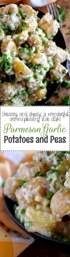 Parmesan Garlic Potatoes and Peas - Creamy, garlicky, cheesy, and completely satisfying! Parmesan Garlic Potatoes and Peas is the perfect side dish to almost any main. Pair this simple, rustic dish with chicken, pork, or beef for a great weeknight dinner option.