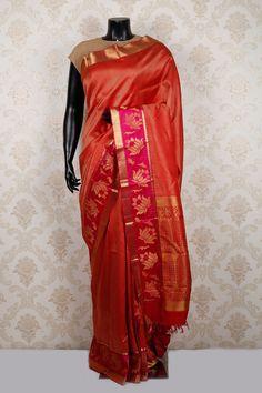 #Red & #gold pure kanchipuram #silk amazing #saree with zari weaved pallu -SR13083