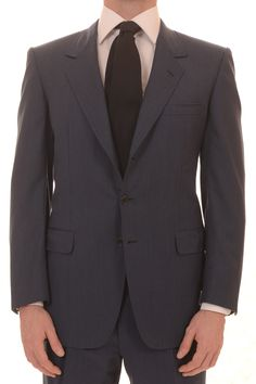 "BRIONI Per Ferretti Hand Made ""TRATANO"" Solid Blue Wool Business Suit EU 50 US 40"