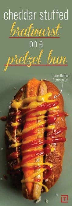 ... cheddar-stuffed bratwurst, complete with homemade pretzel buns. Juicy
