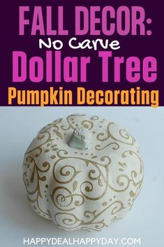 Dollar Store Pumpkin Makeovers - DIY Glitter Pumpkins Three Ways! #glitter #falldecor #fallcrafts #pumpkin #dollarstoremakeover Diy Home Decor Projects, Easy Diy Projects, Dollar Tree Pumpkins, Glitter Pumpkins, Diy Apartment Decor, Repurposed Items, Halloween Projects, Fall Diy, Decorating On A Budget