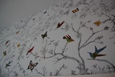 Sharpie Hand-drawn Wallpaper! with painted on birds