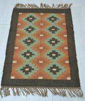 Kilim Rug Wool Indian 150x90cm 5x3' Kelim Maroon Navy Handmade Style SPAIN 7426774823295 | eBay