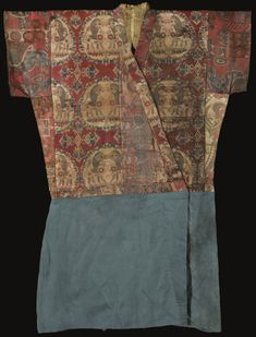 "Lot | Sotheby's - 7-8 c. Sogdian Silk ""robe"" - upper of several different woven patterned fabrics, lower of blue-green silk damask"