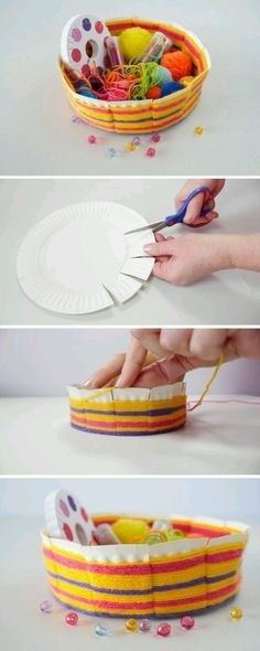 Today, we have a fantastic craft for you! We are going to make this easy woven bowl made out of a paper plate. Today, we have a fantastic craft for you! We are going to make this easy woven bowl made out of a paper plate. Craft Activities For Kids, Projects For Kids, Diy For Kids, Diy Projects, Yarn Crafts, Diy Crafts, Fabric Crafts, Weaving For Kids, Basket Crafts