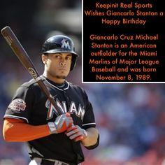keepinitrealsports.com Giancarlo Stanton, Sports Birthday, Miami Marlins, The Outfield, Birthdays, Baseball Cards, American, Anniversaries, Birthday