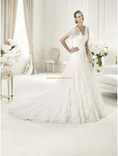 A-linie Schönste Hochzeitskleider aus Softnetz mit Applikation