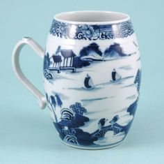 Chinese export porcelain  blue & white tankard.1770 - 1780, China