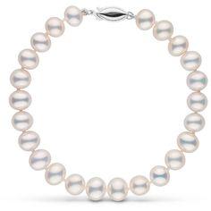 7.5-8.0 mm Metallic White Freshwater Pearl Bracelet ($90) ❤ liked on Polyvore featuring jewelry, bracelets, 14k bangle, 14k jewelry, knot bangle, white jewelry and metallic jewelry