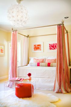 Pink + Orange Bedroom With Brass Canopy Bed And Striped Curtains «design ::  Hardenburg Designs