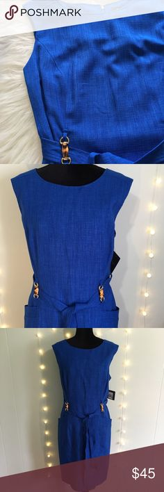 NWT Ellen Tracy Cobalt Blue Dress Size 16 Stunning cobalt blue dress.  Sleeveless and fitted, lined, with a cute tie and little embellishments at the belt.  Very flattering silhouette.  Brand new with tags, zipper and clasp in perfect working condition. Ellen Tracy Dresses