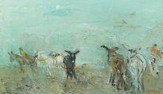 Jacques TRUPHEMUS (Né en 1922)  Les ânes, 1962 Huile sur toile, signée et datée 6