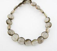 16 12mm Smoky Quartz Round Coin Beads by FancyGemsandFindings, $33.99 Smoky Quartz, Gems, Jewellery, Silver, Jewels, Jewelry Shop, Money, Rhinestones, Jewerly