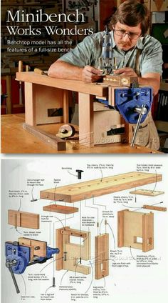Mini Workbench Plans - Workshop Solutions Plans, Tips and Tricks - Woodwork, Woodworking, Woodworking Plans, Woodworking Projects Woodworking Bench Plans, Workbench Plans, Woodworking Videos, Woodworking Shop, Woodworking Crafts, Garage Workbench, Industrial Workbench, Youtube Woodworking, Sketchup Woodworking