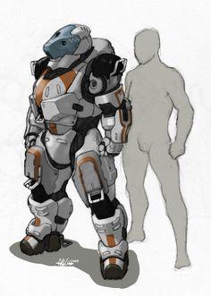 'Golem' Hardsuit- sketch by *Tekka-Croe on deviantART