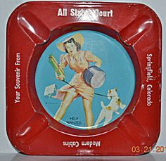 Vintage Tin Litho Gil Elvgren Pin-up Advertising Ashtray