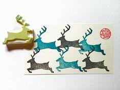 deer rubber stamp. reindeer stamp. silhouette. hand carved rubber stamp. winter land.
