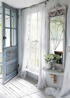 Shabby chic furniture and vintage decor create beautiful and romantic home interiors. Antiques and vintage furniture in light pale colors , combined with white decorating make living spaces feel airy and comfortable, elegant and very attractive. Classical vintage furniture and country home decoratin