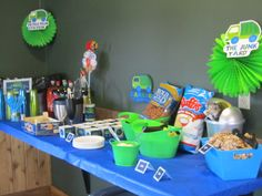 several food stations at the garbage truck birthday complete with 'make your own garbage plates' (we do live in the garbage plate headquarters! Fourth Birthday, 3rd Birthday Parties, Birthday Bash, Birthday Ideas, Garbage Plate, Garbage Truck Party, Food Stations, Facials, Childrens Party