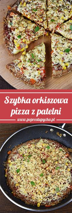 Szybka orkiszowa pizza z patelni Spelled pan pizza is a nice alternative to traditional pizza from the oven. Pesto Pizza, Veggie Pizza, Healthy Pizza, Flatbread Pizza, Pizza Poster, Pizza Casserole, Snack Recipes, Healthy Recipes, Instant Yeast