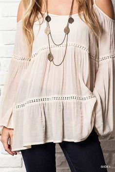 c94284f4affb9 Umgee Peep Cold Shoulder Long Sleeve Boho Hippie Peasant Tunic Top Natural  S M L  Umgee