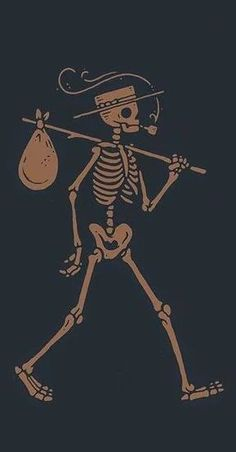 traveling skeleton with a hat, pipe, and bindle Skeleton Drawings, Skeleton Art, Simple Skeleton Drawing, Skeleton Tattoos, Skeleton Makeup, Skull Makeup, Tattoo Drawings, Art Drawings, Halloween Art