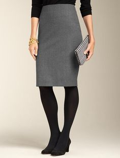 Talbots - Stretch Flannel Pencil Skirt & black tights. I can dig it.