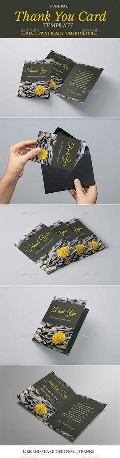 Funeral Program Thank You Card Template 06 - Greeting Cards Cards & Invites