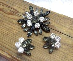 Smokey Gray White Rhinestone Starburst Brooch Pin by donDiLights, $49.50