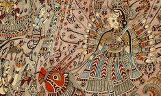 mata-ni-pachedi-- hand-painted folk-art depicting Goddess Durga