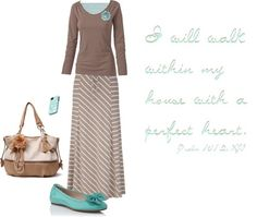 """""""I will walk..."""" by trinity-holiness-girl ❤ liked on Polyvore - coffee brown wide neckline long sleeve t-shirt, flower pin, brown and white stripe maxi skirt"""