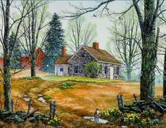 Painting by Fred Swan - Desktop Nexus Wallpapers Watercolor Landscape, Landscape Art, Landscape Paintings, Cat Paintings, Swan Painting, Spring Painting, House Painting, Arte Country, Farm Art