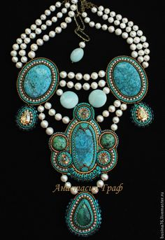 Купить Колье Морская царевна (бирюза натуральная, жемчуг, кристаллы Сваровски - бирюзовый, колье с бирюзой