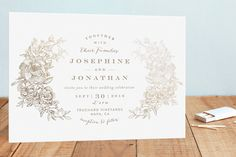 Engraved Flowers Foil-Pressed Wedding Invitations by Phrosné Ras at minted.com