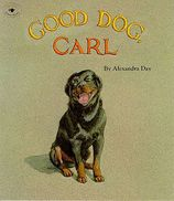 This is part of a series of books about Carl, the dog, by Alexandra Day.  They have no/few words in them.  They are perfect to allow a child to tell his own story.  The benefits of this are many--forming complete thoughts and verbalizing them, sequencing, cause and effect, interpreting picture into useful information, context clues,  etc.  It would also be good for ELL/ESL students to practice oral English.