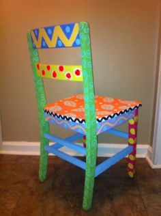 Funky Hand Painted Chair By EyeCandyByAngie On Etsy, $70.00