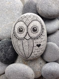 Owl - Hand painted rock from The Beach - Toronto