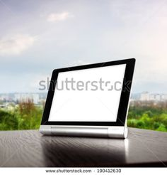 city landscape tablet and white space
