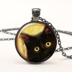 Cat Necklace Cute Halloween Jewelry Black Kitty Pendant by rainnua, $14.45