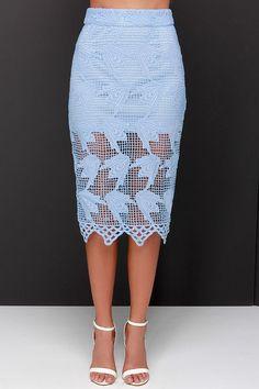 JOA Elegant Hardly Wait Powder Blue Lace Midi Skirt at Lulus.com!