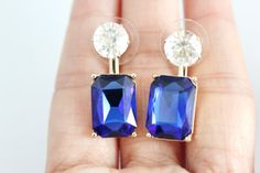 Midnight blue crystal glass double sided drop earrings by SkylaBoutique