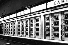 The Horn and Hardart Automat, you put the money in the slot next to the item you wanted then lifted up the door, here were people in the back that replaced it with fresh food. I thought it was fascintating when I went to one as a kid in NYC with my aunts.