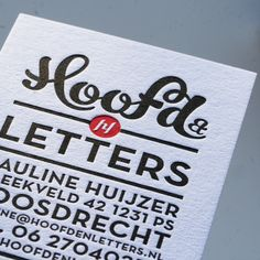 Corporate Identity Hoofd by Rens Dekker, via Behance - Businnes Cards Premium Business Cards, Unique Business Cards, Business Card Design, Typography Logo, Typography Design, Branding Design, Corporate Design, Logos, Letterpress Business Cards
