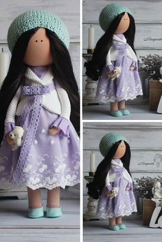 Interior doll pregnant brunette violet colors Art doll Baby doll Lady doll Tilda doll unique doll magic doll