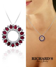 Ruby and diamond round pendant in 18k white gold
