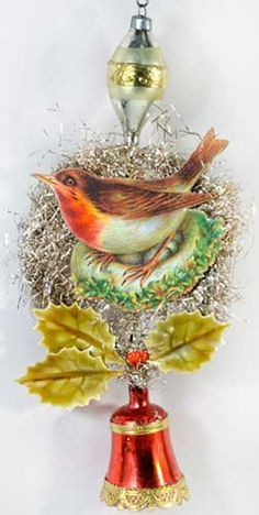 Beautiful Robin on Tinsel Ornament with Holly and Red Glass Bell  http://victorianornaments.com
