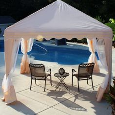 Comfort  White Fabric Gazebo Canopy Decors Set Toward Pool As Astounding Gazebo Canopy Decors for Additional Comfort Space garden design