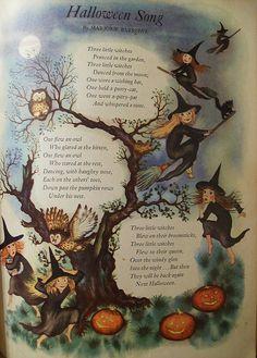 Vintage Halloween Song Poem Art Print 11 x 14 Retro Halloween, Halloween Poems, Vintage Halloween Cards, Halloween Prints, Holidays Halloween, Spooky Halloween, Halloween Decorations, Halloween Signs, Happy Halloween Pictures