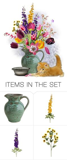 """""""Little Marmalade with Tulips"""" by kathy-martenson-sanko ❤ liked on Polyvore featuring art"""